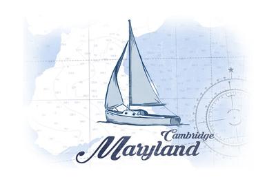 Cambridge, Maryland - Sailboat - Blue - Coastal Icon Prints by  Lantern Press