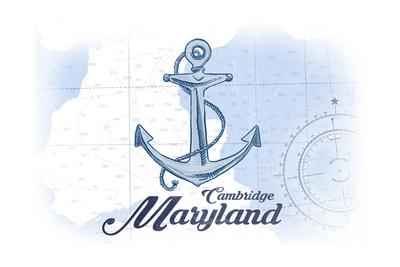 Cambridge, Maryland - Anchor - Blue - Coastal Icon Poster by  Lantern Press