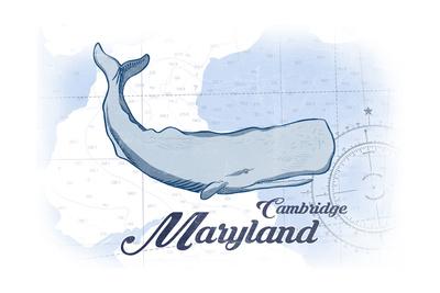 Cambridge, Maryland - Whale - Blue - Coastal Icon Prints by  Lantern Press