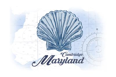 Cambridge, Maryland - Scallop Shell - Blue - Coastal Icon Art by  Lantern Press