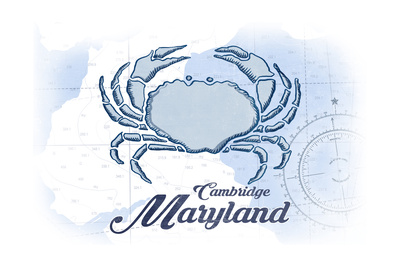Cambridge, Maryland - Crab - Blue - Coastal Icon Prints by  Lantern Press