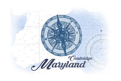 Cambridge, Maryland - Compass - Blue - Coastal Icon Print by  Lantern Press