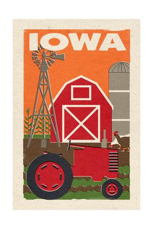 Iowa - Country - Woodblock Prints by  Lantern Press