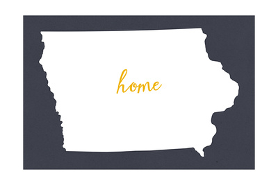 Iowa - Home State- White on Gray Posters by  Lantern Press