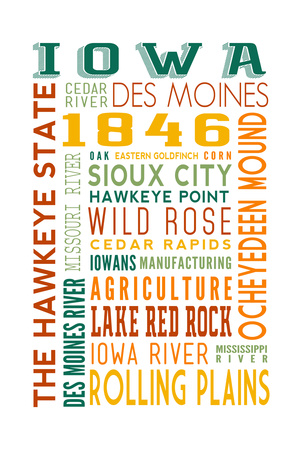 Iowa - Typography Posters by  Lantern Press