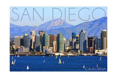 San Diego, California - Mountains and Sailboats Prints by  Lantern Press
