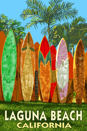 Laguna Beach, California - Surfboard Fence Poster by  Lantern Press