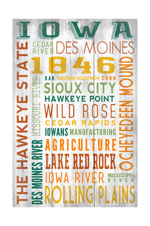 Iowa - Barnwood Typography Art by  Lantern Press