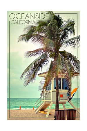 Oceanside, California - Lifeguard Shack and Palm Poster by  Lantern Press