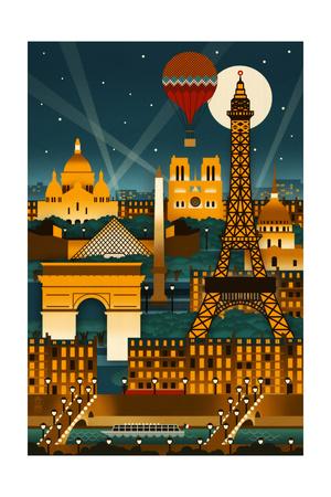 Paris, France - Retro Skyline (no text) Prints by  Lantern Press
