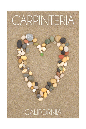 Carpinteria, California - Stone Heart on Sand Prints by  Lantern Press