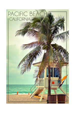 Pacific Beach, California - Lifeguard Shack and Palm Prints by  Lantern Press