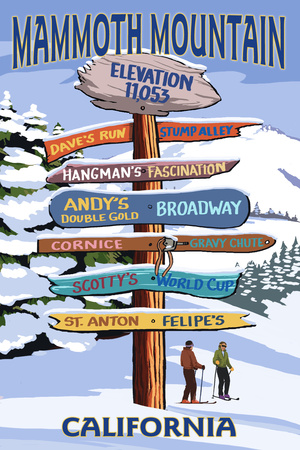 Mammoth Mountain, California - Ski Signpost Poster by  Lantern Press