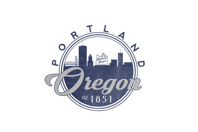 Portland, Oregon - Skyline Seal (Blue) Print by  Lantern Press