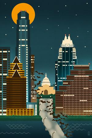 Austin, Texas - Retro Skyline (no text) Prints by  Lantern Press