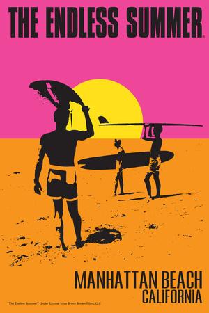 Manhattan Beach, California - the Endless Summer - Original Movie Poster Poster von  Lantern Press