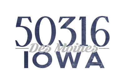 Des Moines, Iowa - 50316 Zip Code (Blue) Posters by  Lantern Press