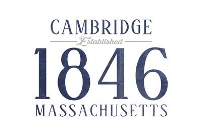 Cambridge, Massachusetts - Established Date (Blue) Prints by  Lantern Press