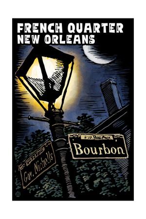 French Quarter - New Orleans, Louisiana - Bourbon Street - Scratchboard Prints by  Lantern Press