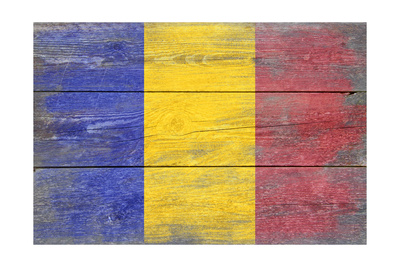 Romania Country Flag - Barnwood Painting Posters by  Lantern Press