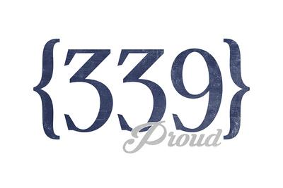 Cambridge, Massachusetts - 339 Area Code (Blue) Prints by  Lantern Press