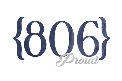 Lubbock, Texas - 806 Area Code (Blue) Posters by  Lantern Press