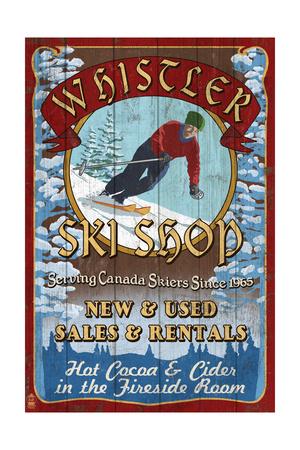 Whistler, Canada - Ski Shop Vintage Sign Art by  Lantern Press