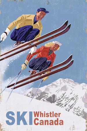 Ski Whistler, Canada - Vintage Skiers Plakater af  Lantern Press