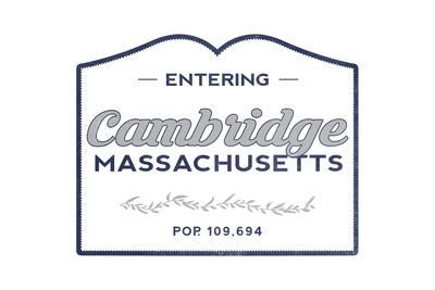 Cambridge, Massachusetts - Now Entering (Blue) Prints by  Lantern Press