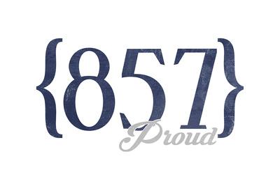 Cambridge, Massachusetts - 857 Area Code (Blue) Art by  Lantern Press