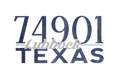 Lubbock, Texas - 74901 Zip Code (Blue) Posters by  Lantern Press