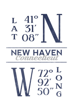 New Haven, Connecticut - Latitude and Longitude (Blue) Prints by  Lantern Press