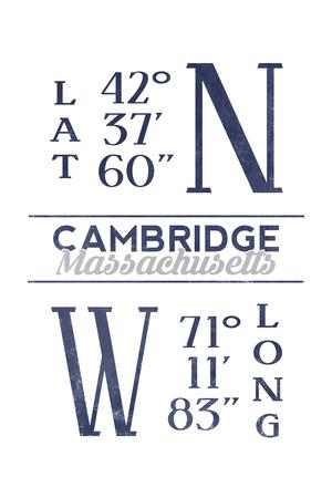 Cambridge, Massachusetts - Latitude and Longitude (Blue) Posters by  Lantern Press