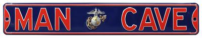 Man Cave Marines USMC Officer Steel Street Sign - Silver Emblem Wall Sign