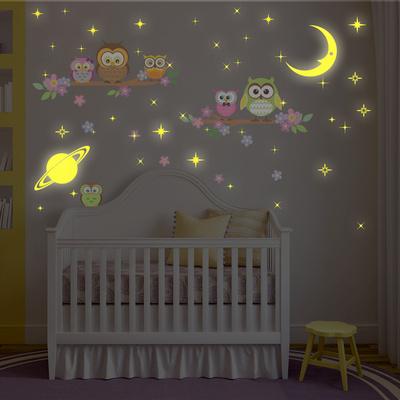 Owl Tree with Glow in the Dark Moon and Stars Duvar Çıkartması