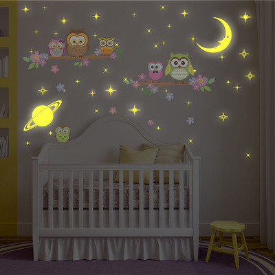Owl Tree with Glow in the Dark Moon and Stars Wall Decal