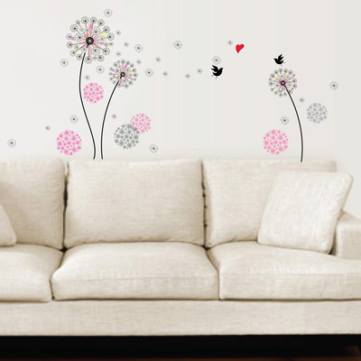 Small Pink Dandelion Wall Decal