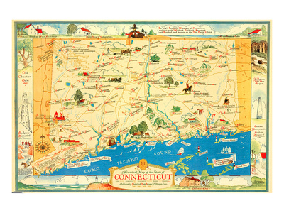 Historical Map of Connecticut Print by Leon des Rosiers