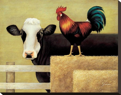 Barnyard Cow Stretched Canvas Print by Lowell Herrero