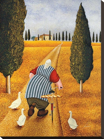 Lady with Fresh Bread Stretched Canvas Print by Lowell Herrero