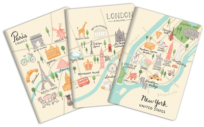 City Maps Notebook (Paris, London, New York), 3-in-1 deal