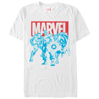 The Avengers- Blue Stenciled Trio T-shirts