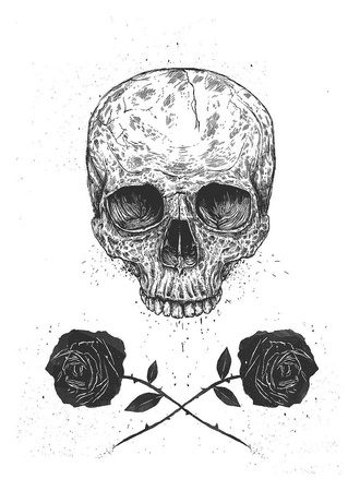Skull N Roses Print by Balazs Solti