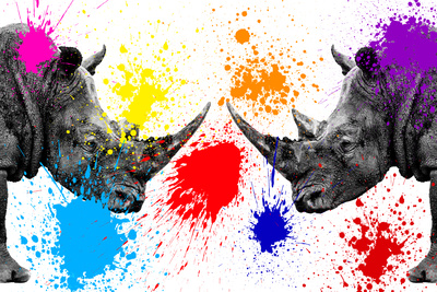 Safari Colors Pop Collection - Rhinos Face to Face III Giclée-tryk af Philippe Hugonnard