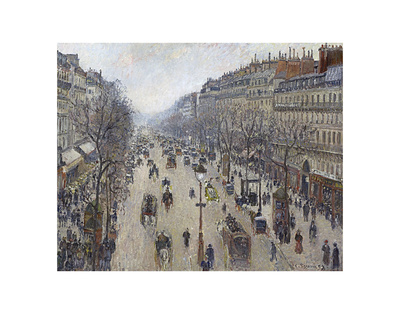 Boulevard Montmartre, Morning, Cloudy Weather, 1897 Prints by Camille Pissarro