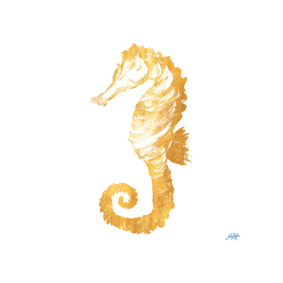 Gold Square Seahorse II Prints by Julie DeRice