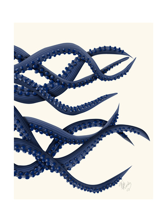 Giant Octopus Blue Triptych c Posters by Fab Funky