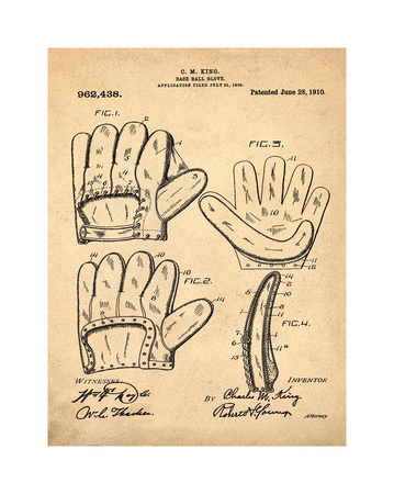 Baseball Glove, 1909-Antique I Giclee Print by Bill Cannon