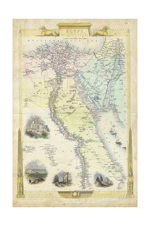 Vintage Map of Egypt ポスター : J. ラプキン