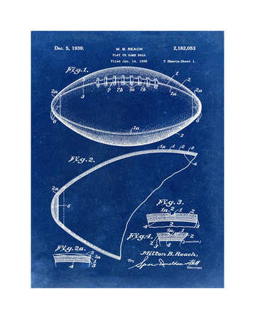 Football, 1938-Blue Giclee Print by Bill Cannon